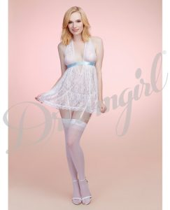 Lace Babydoll W-garter G-string White O-s